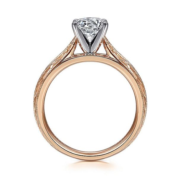 Gabriel & Co Rose Gold Engraved Semi-Mount Engagement Ring Image 2 David Scott Fine Jewelry Panama City Beach, FL