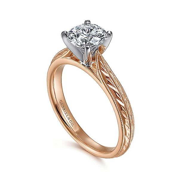 Gabriel & Co Rose Gold Engraved Semi-Mount Engagement Ring Image 3 David Scott Fine Jewelry Panama City Beach, FL