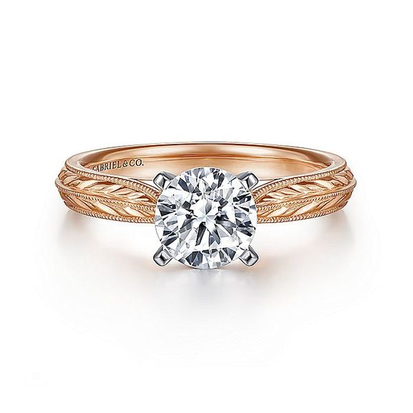 Gabriel & Co Rose Gold Engraved Semi-Mount Engagement Ring David Scott Fine Jewelry Panama City Beach, FL