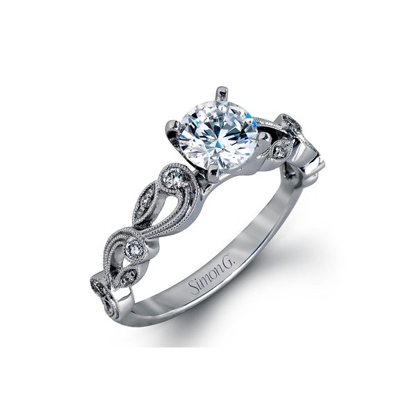 Ladies Simon G Semi Mount Diamond Engagement Ring Set In 18 Karat White Gold David Scott Fine Jewelry Panama City Beach, FL