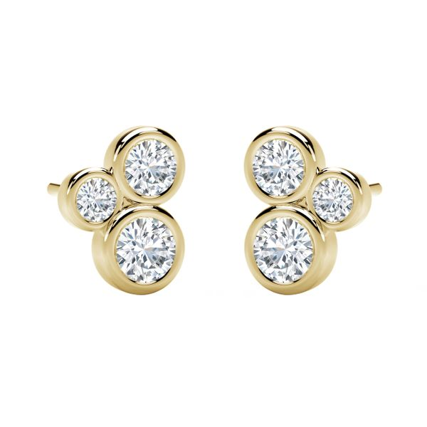 Forevermark Tribute Collection Three Stone Bezel Studs Image 2 David Scott Fine Jewelry Panama City Beach, FL