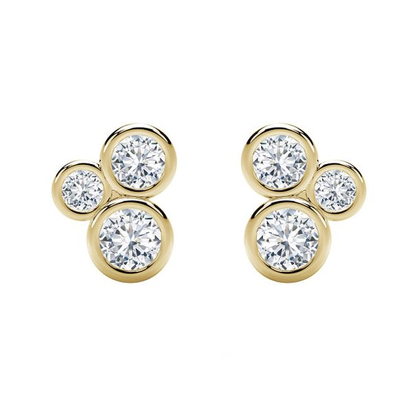 Forevermark Tribute Collection Three Stone Bezel Studs David Scott Fine Jewelry Panama City Beach, FL