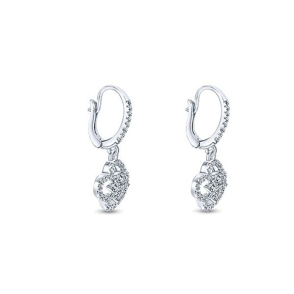 Gabriel & Co White Gold Clover Cutout Diamond Drop Earrings Image 2 David Scott Fine Jewelry Panama City Beach, FL