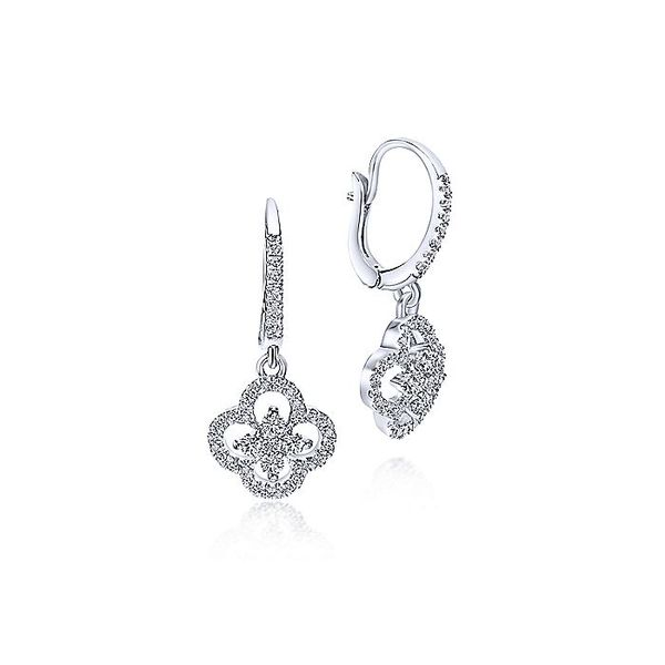 Gabriel & Co White Gold Clover Cutout Diamond Drop Earrings David Scott Fine Jewelry Panama City Beach, FL