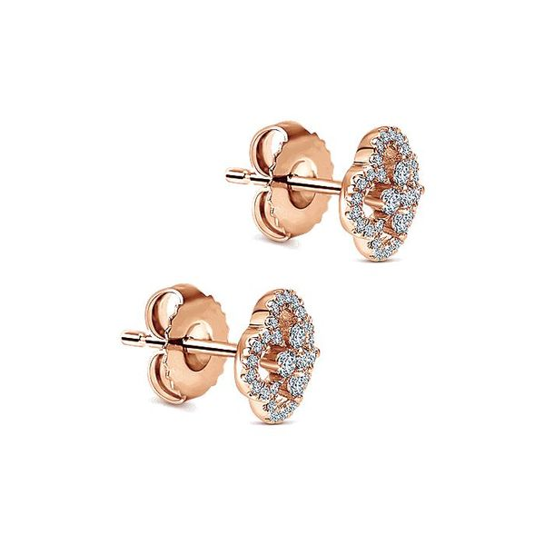 Gabriel & Co. Rose Gold Clover Cutout Diamond Stud Earrings Image 2 David Scott Fine Jewelry Panama City Beach, FL