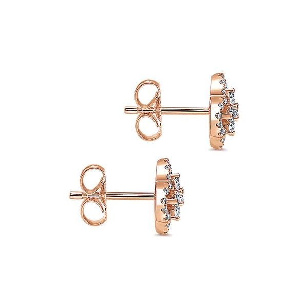 Gabriel & Co. Rose Gold Clover Cutout Diamond Stud Earrings Image 3 David Scott Fine Jewelry Panama City Beach, FL