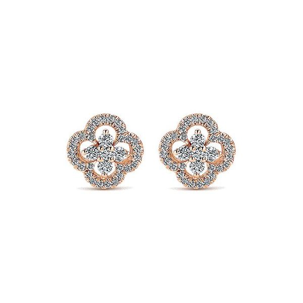 Gabriel & Co. Rose Gold Clover Cutout Diamond Stud Earrings David Scott Fine Jewelry Panama City Beach, FL