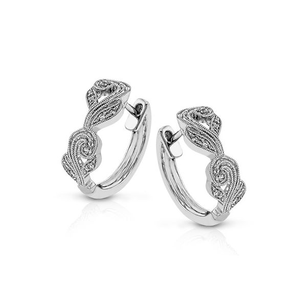 Simon G White Gold Vintage-Inspired Diamond Hoop Earrings David Scott Fine Jewelry Panama City Beach, FL