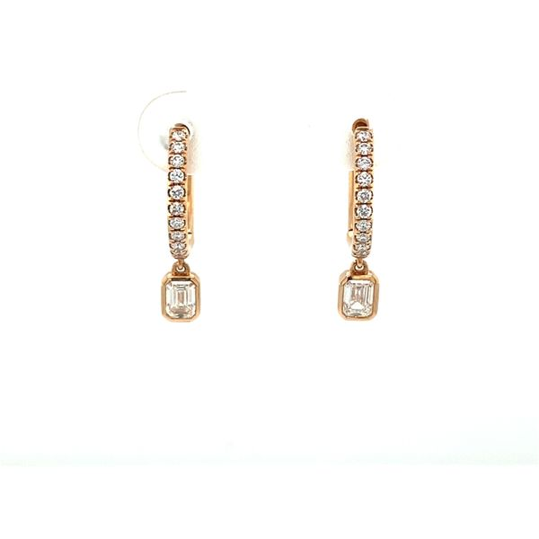 Rose Gold Forevermark Diamond Hoops With Emerald Cut Dangles David Scott Fine Jewelry Panama City Beach, FL