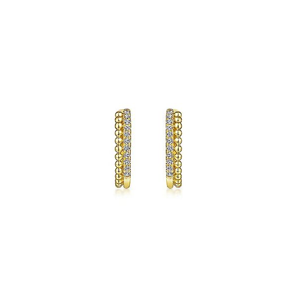 Gabriel & Co Yellow Gold Beaded Pave 10mm Diamond Huggie Earrings Image 3 David Scott Fine Jewelry Panama City Beach, FL