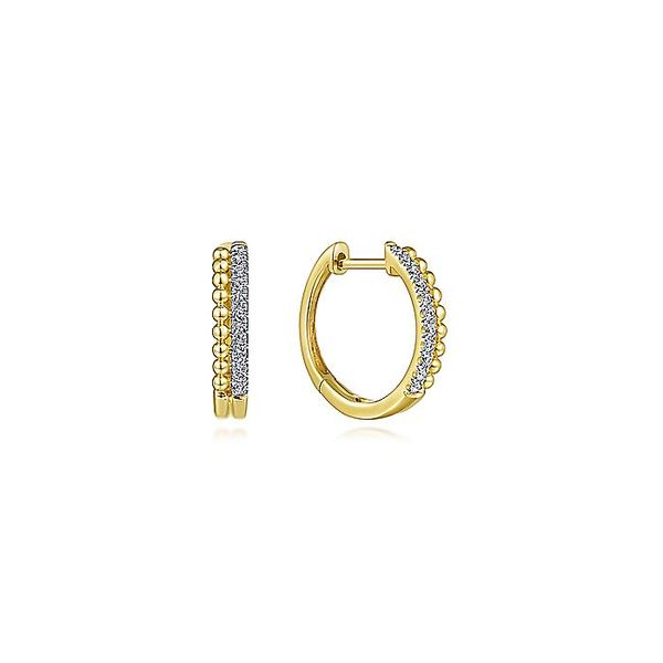 Gabriel & Co Yellow Gold Beaded Pave 10mm Diamond Huggie Earrings David Scott Fine Jewelry Panama City Beach, FL