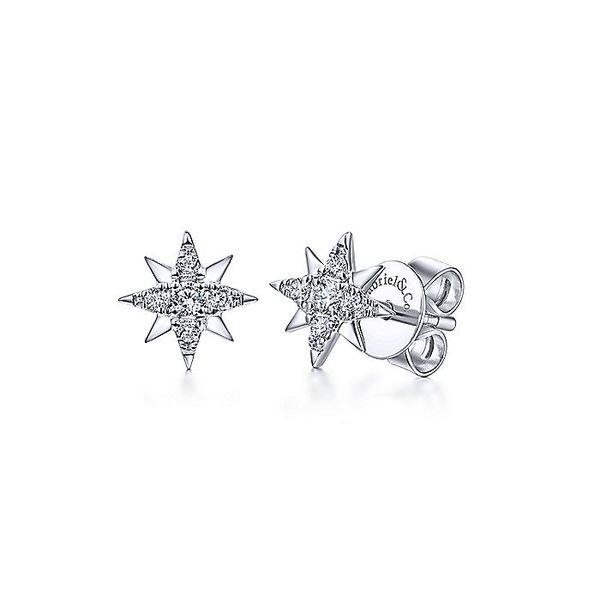Gabriel & Co White Gold Diamond Stud Star Earrings David Scott Fine Jewelry Panama City Beach, FL