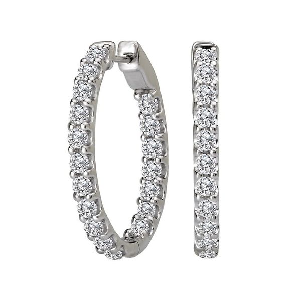 Ladies White Gold Four Carat Oval Hoop Earrings David Scott Fine Jewelry Panama City Beach, FL
