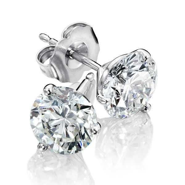 Ladies White Gold Two Carat Total Weight Stud Earrings David Scott Fine Jewelry Panama City Beach, FL