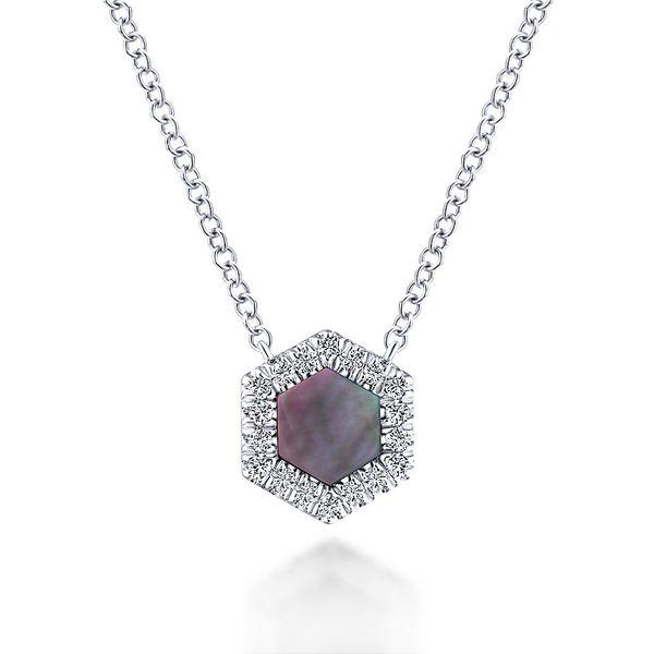 7e8ff9fa191 Gabriel & Co. White Gold Black Mother Of Pearl And Diamonds Necklace thumb  image 1