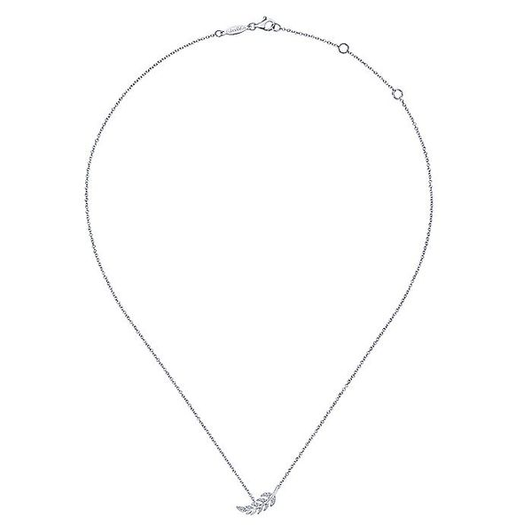 Gabriel & Co. White Gold Diamond Leaf Fashion Necklace Image 2 David Scott Fine Jewelry Panama City Beach, FL