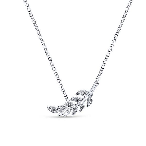 Gabriel & Co. White Gold Diamond Leaf Fashion Necklace David Scott Fine Jewelry Panama City Beach, FL