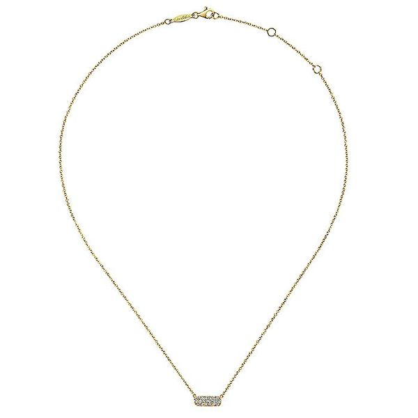 Gabriel & Co. Yellow Gold Rectangular Diamond Bar Fashion Necklace Image 2 David Scott Fine Jewelry Panama City Beach, FL