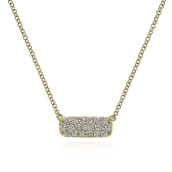 Gabriel & Co. Yellow Gold Rectangular Diamond Bar Fashion Necklace David Scott Fine Jewelry Panama City Beach, FL