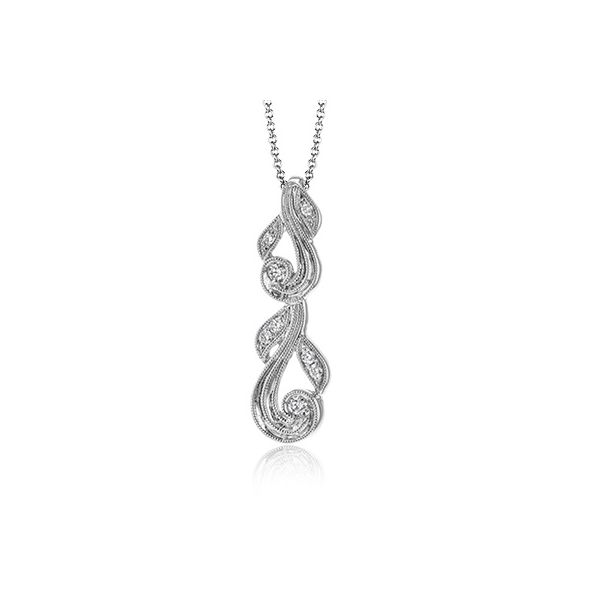 Simon G White Gold Filigree Design Diamond Pendant David Scott Fine Jewelry Panama City Beach, FL