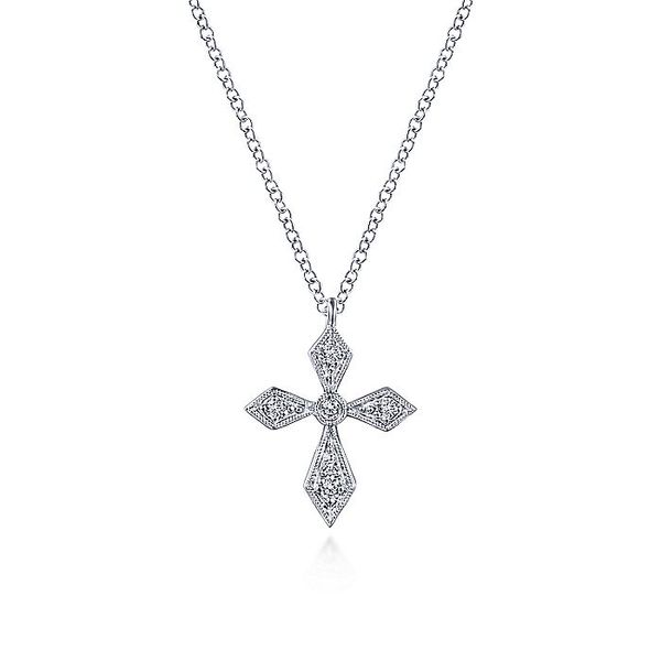 Gabriel & Co Vintage Inspired White Gold Pointed Diamond Cross Pendant Necklace David Scott Fine Jewelry Panama City Beach, FL