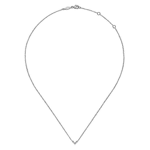 Gabriel & Co White Gold Baguette and Round Diamond Chevron Pendant Necklace Image 2 David Scott Fine Jewelry Panama City Beach, FL