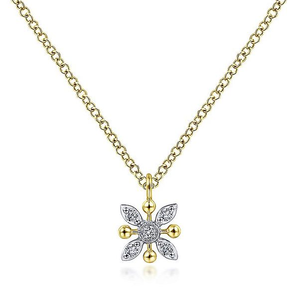 Gabriel & Co Yellow aND White Gold Floral Diamond Pendant Necklace with Bujukan Beads David Scott Fine Jewelry Panama City Beach, FL