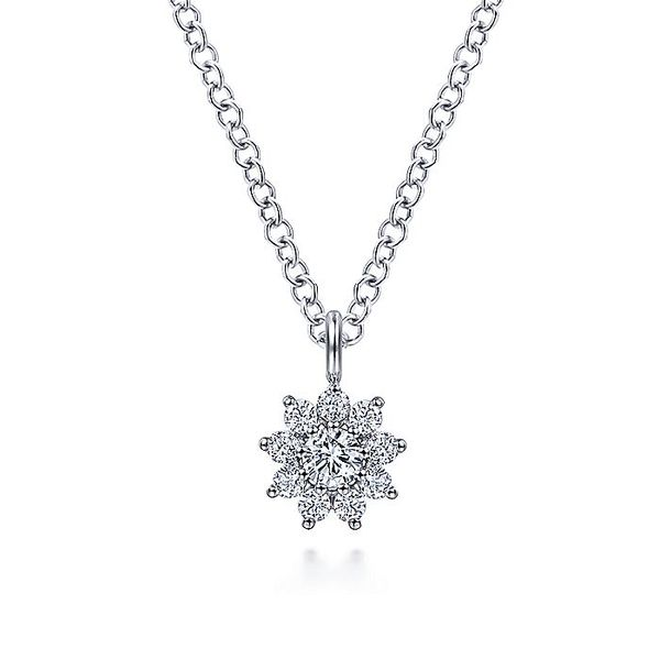 Gabriel & Co White Gold Diamond Flower Pendant Necklace David Scott Fine Jewelry Panama City Beach, FL