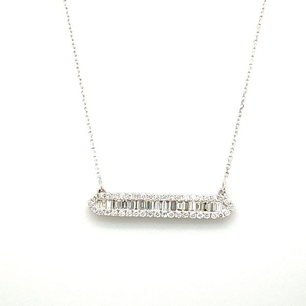 Ladies White Gold Baguette Diamond Bar Necklace David Scott Fine Jewelry Panama City Beach, FL