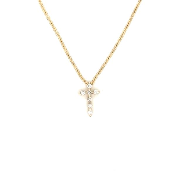 Ladies Yellow Gold Petite Diamond Cross Necklace David Scott Fine Jewelry Panama City Beach, FL