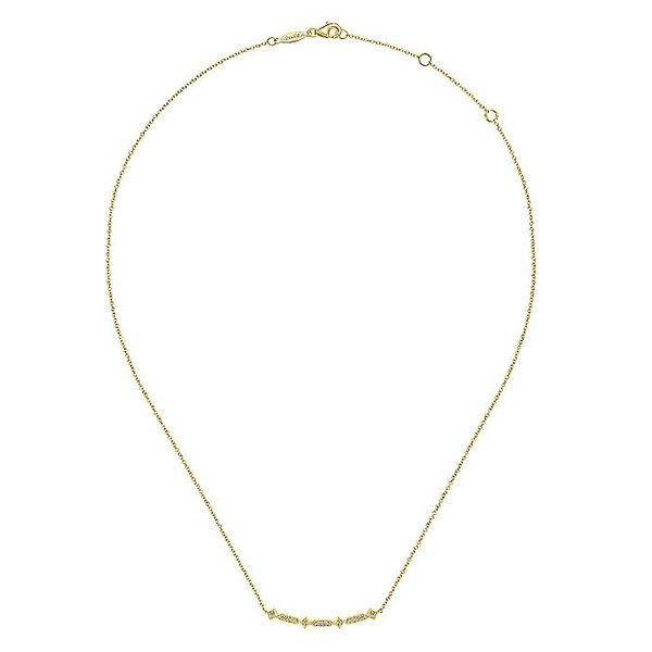 Gabriel & Co. Yellow Gold Curved Geometric Diamond Bar Necklace Image 2 David Scott Fine Jewelry Panama City Beach, FL