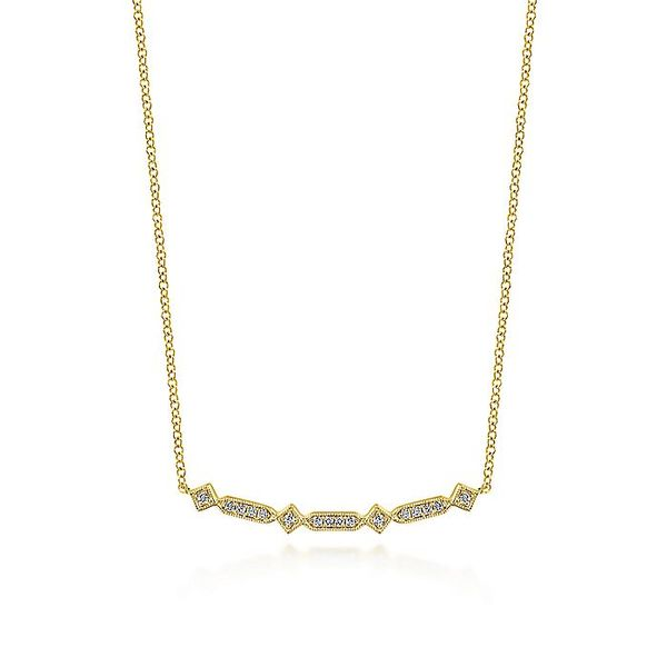 Gabriel & Co. Yellow Gold Curved Geometric Diamond Bar Necklace David Scott Fine Jewelry Panama City Beach, FL