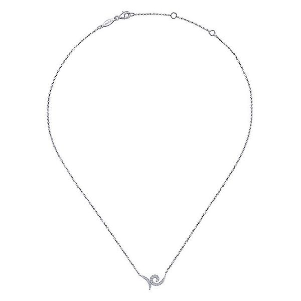 Gabriel & Co White Gold Swirling Pave Diamond Necklace Image 2 David Scott Fine Jewelry Panama City Beach, FL