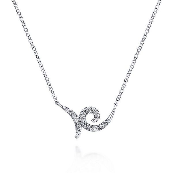 Gabriel & Co White Gold Swirling Pave Diamond Necklace David Scott Fine Jewelry Panama City Beach, FL