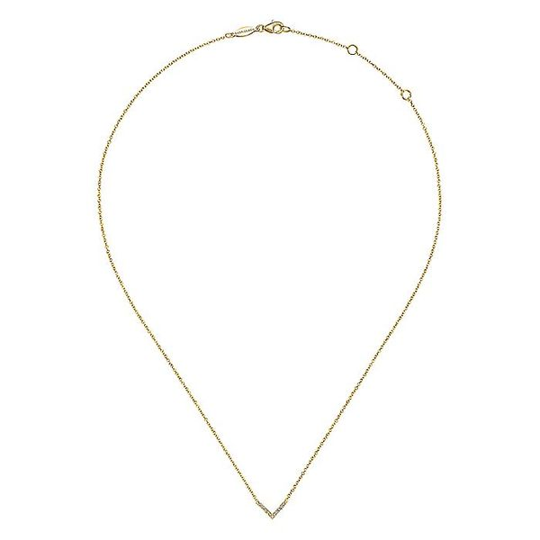Gabriel & Co Yellow Gold V Shaped Diamond Bar Necklace Image 2 David Scott Fine Jewelry Panama City Beach, FL