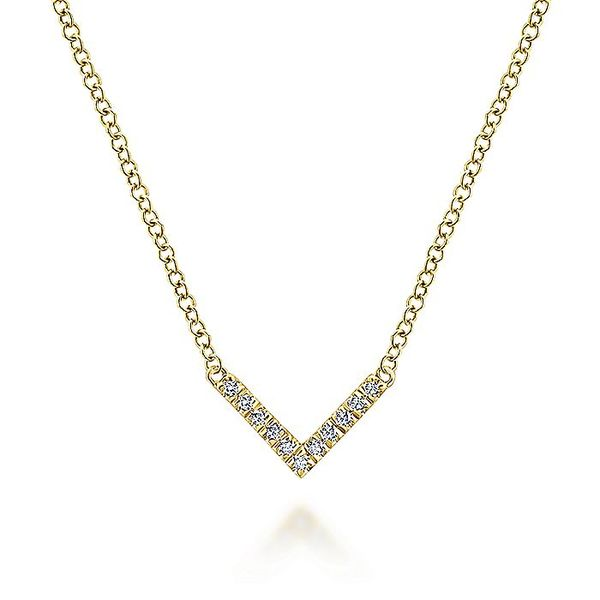 Gabriel & Co Yellow Gold V Shaped Diamond Bar Necklace David Scott Fine Jewelry Panama City Beach, FL