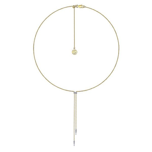 Gabriel & Co Yellow And White Gold Lariat Choker Necklace With Diamond Bar and Spikes Image 2 David Scott Fine Jewelry Panama City Beach, FL