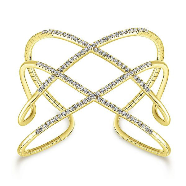 Gabriel & Co. Yellow Gold And Diamonds Bangle Bracelet David Scott Fine Jewelry Panama City Beach, FL