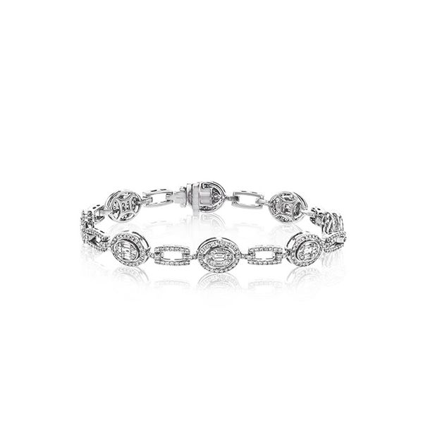 Simon G. White Gold Oval Link Diamond Bracelet David Scott Fine Jewelry Panama City Beach, FL