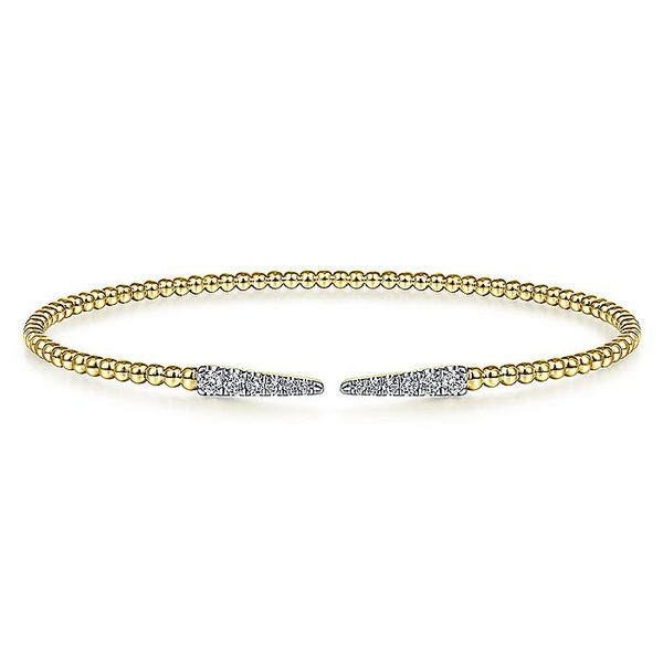 Gabriel & Co Yellow Gold Bujukan Bead Cuff Bracelet With Diamond Pave Spikes David Scott Fine Jewelry Panama City Beach, FL