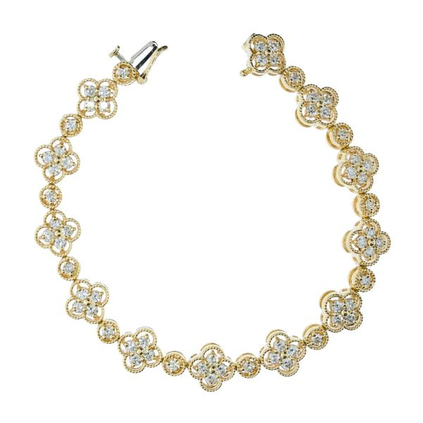 Yellow Gold Diamond Clover Style Bracelet David Scott Fine Jewelry Panama City Beach, FL