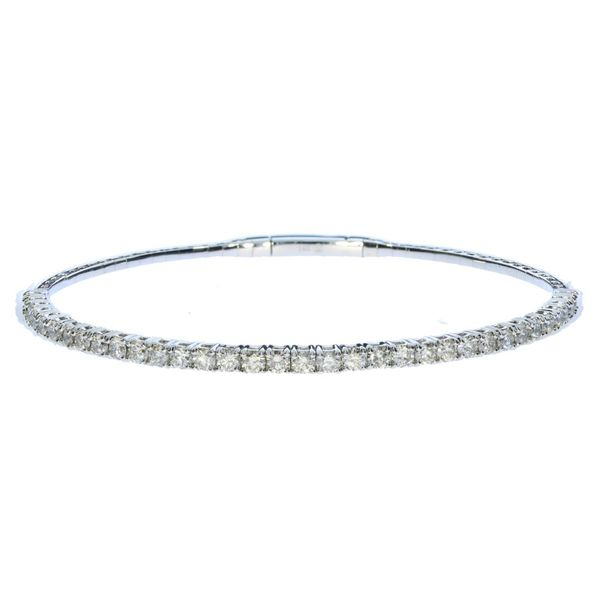 White Gold Flexible Diamond Bangle Bracelet David Scott Fine Jewelry Panama City Beach, FL