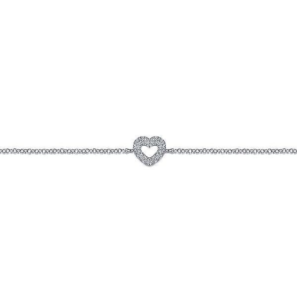 Ladies Gabriel & Co. 14 Karat White Gold 7 Inch Chain Bracelet with Pave' Diamond Heart Image 2 David Scott Fine Jewelry Panama City Beach, FL