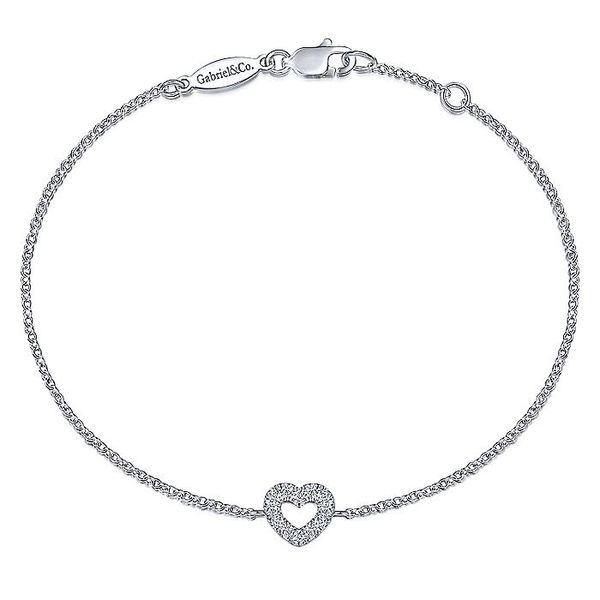 Ladies Gabriel & Co. 14 Karat White Gold 7 Inch Chain Bracelet with Pave' Diamond Heart David Scott Fine Jewelry Panama City Beach, FL