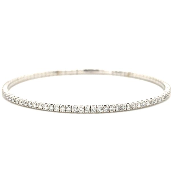 Ladies White Gold One Carat Flexible Diamond Bangle Bracelet David Scott Fine Jewelry Panama City Beach, FL