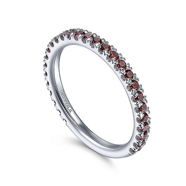 Gabriel & Co White Gold Garnet Stacklable Ring Image 3 David Scott Fine Jewelry Panama City Beach, FL