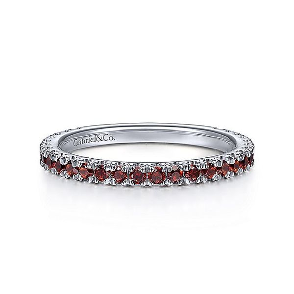Gabriel & Co White Gold Garnet Stacklable Ring David Scott Fine Jewelry Panama City Beach, FL