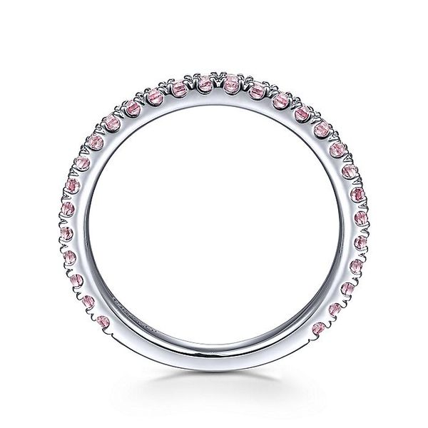 Gabriel & Co White Gold Pink Created Zircon Stackable Ring Image 2 David Scott Fine Jewelry Panama City Beach, FL