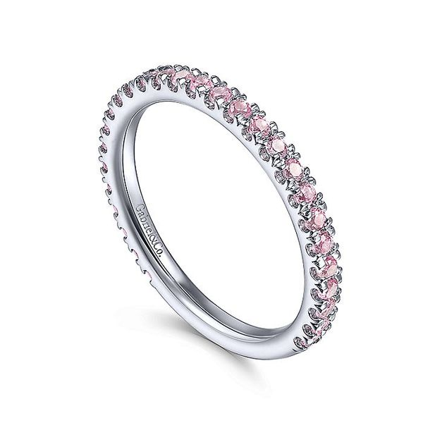Gabriel & Co White Gold Pink Created Zircon Stackable Ring Image 3 David Scott Fine Jewelry Panama City Beach, FL