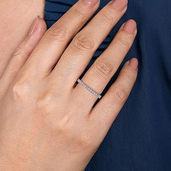 Gabriel & Co White Gold Pink Created Zircon Stackable Ring Image 4 David Scott Fine Jewelry Panama City Beach, FL